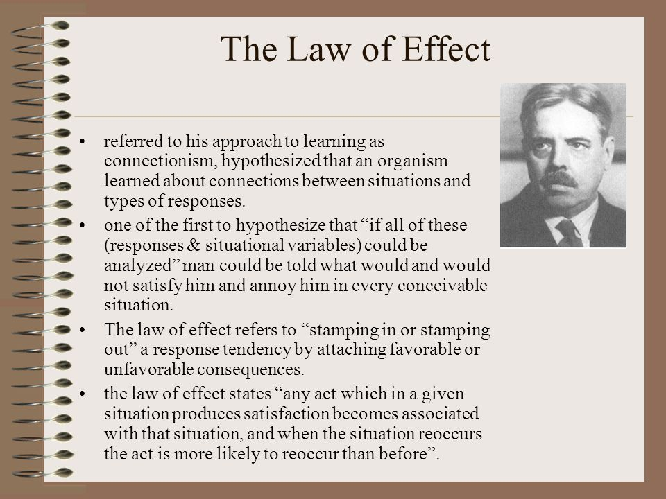 The Law of Effect referred to his approach to learning as connectionism, hypothesized that an organism learned about connections between situations and types of responses.
