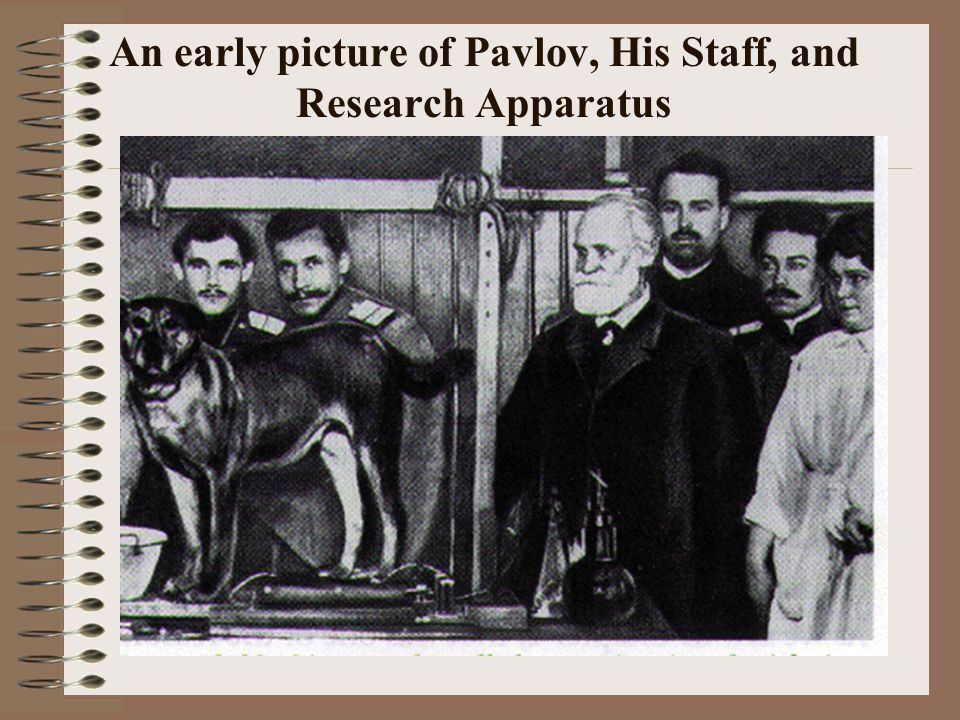 An early picture of Pavlov, His Staff, and Research Apparatus