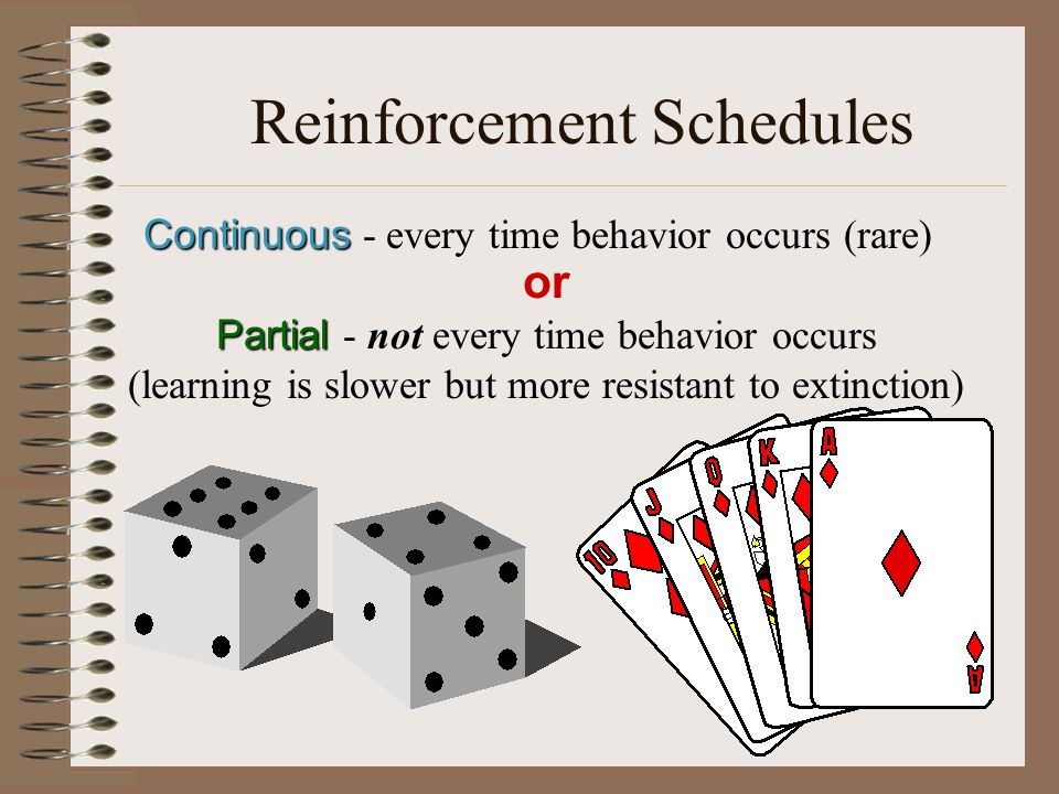 Reinforcement Schedules Continuous Continuous - every time behavior occurs (rare) or Partial Partial - not every time behavior occurs (learning is slower but more resistant to extinction)