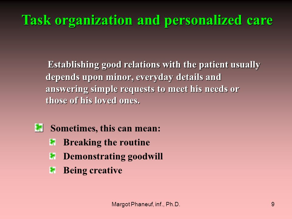 Margot Phaneuf, inf., Ph.D.110 Those who take care of us are our only recourse.