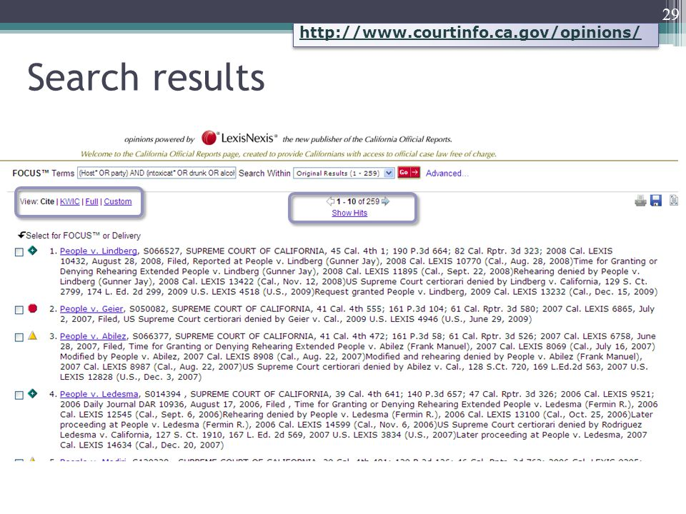 Search results 29 http://www.courtinfo.ca.gov/opinions/