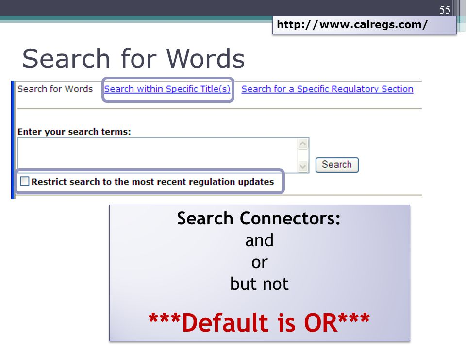 55 http://www.calregs.com/ Search for Words Search Connectors: and or but not ***Default is OR*** Search Connectors: and or but not ***Default is OR**