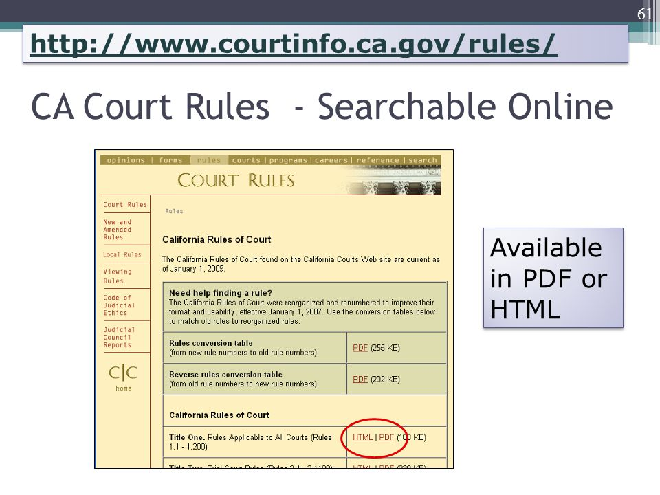 CA Court Rules - Searchable Online 61 Available in PDF or HTML http://www.courtinfo.ca.gov/rules/