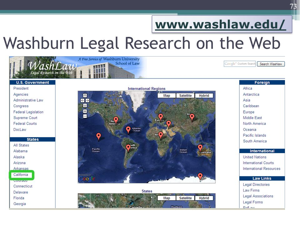 Washburn Legal Research on the Web 73 www.washlaw.edu/