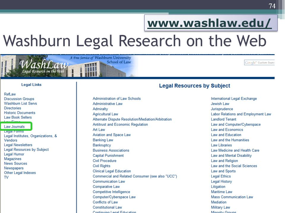 74 Washburn Legal Research on the Web www.washlaw.edu/