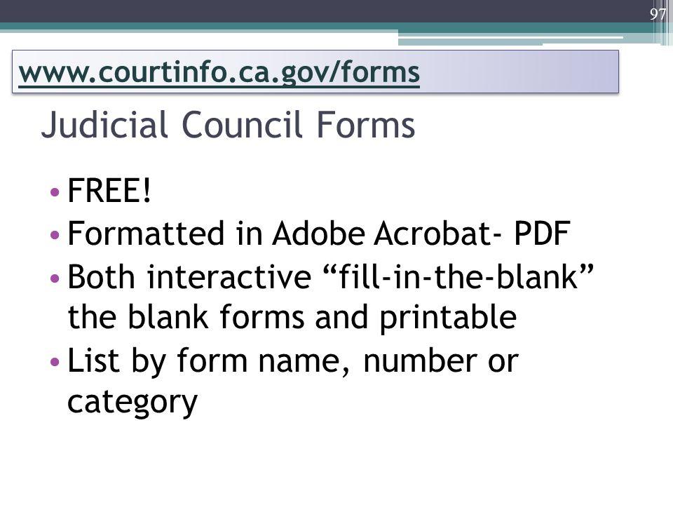 Judicial Council Forms FREE.
