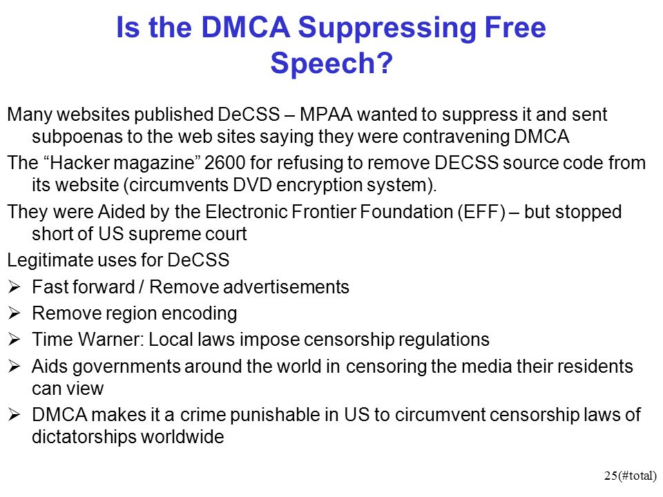 25(#total) Is the DMCA Suppressing Free Speech.