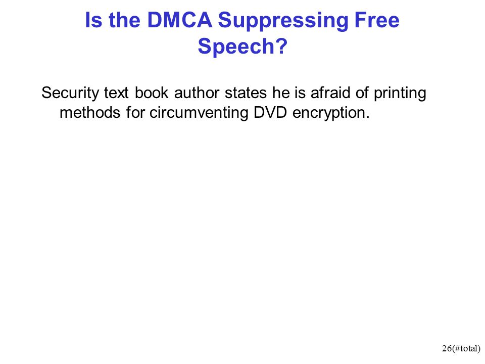 26(#total) Is the DMCA Suppressing Free Speech.