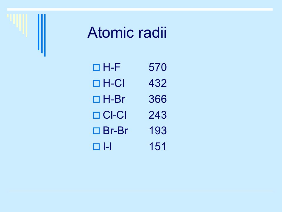 Atomic radii  H-F570  H-Cl432  H-Br366  Cl-Cl243  Br-Br193  I-I151