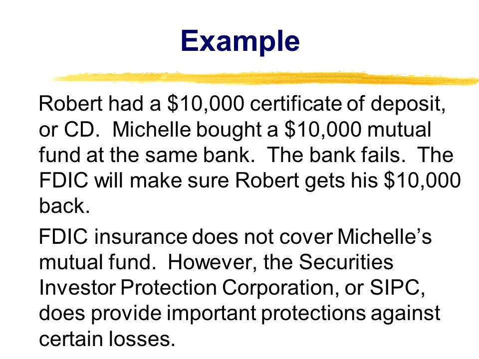 Robert had a $10,000 certificate of deposit, or CD.