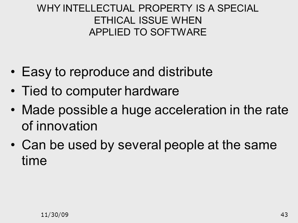 11/30/0942 Intellectual Property Pirated software - the unauthorized use, duplication, distribution or sale of copyrighted software. Counterfeit softw