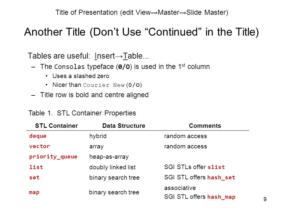Title of Presentation (edit View→Master→Slide Master) 9 Another Title (Don't Use Continued in the Title) Tables are useful: Insert→Table...