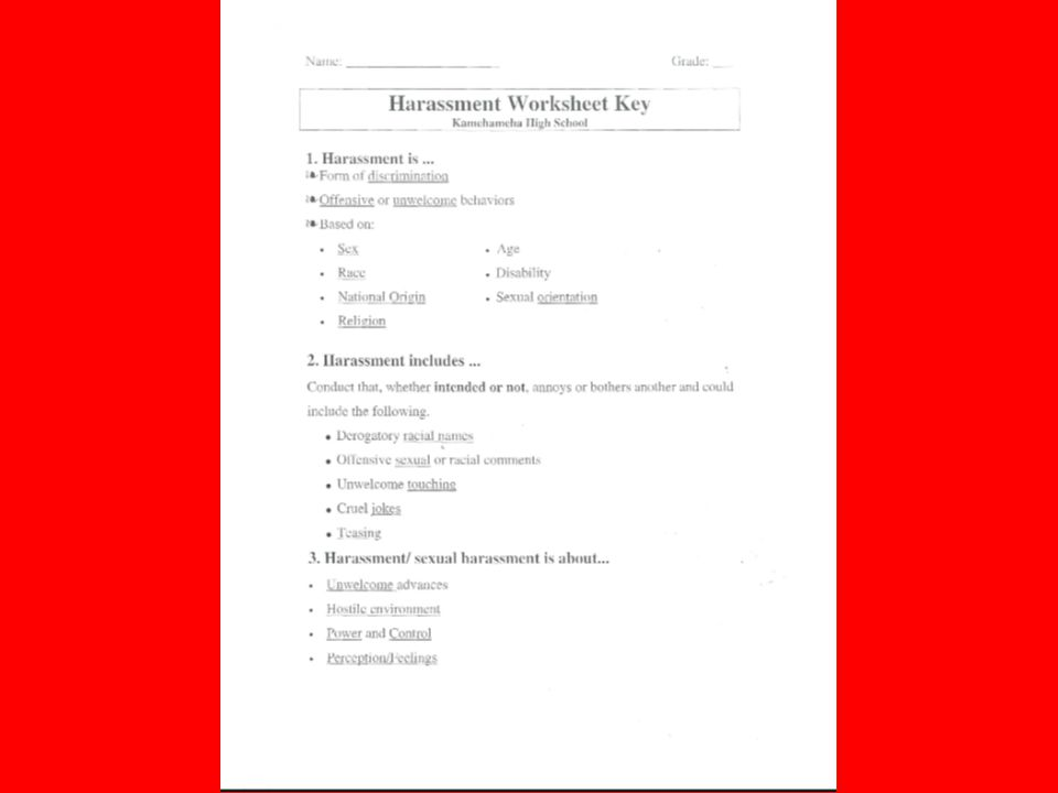 Harassment Response Sheet