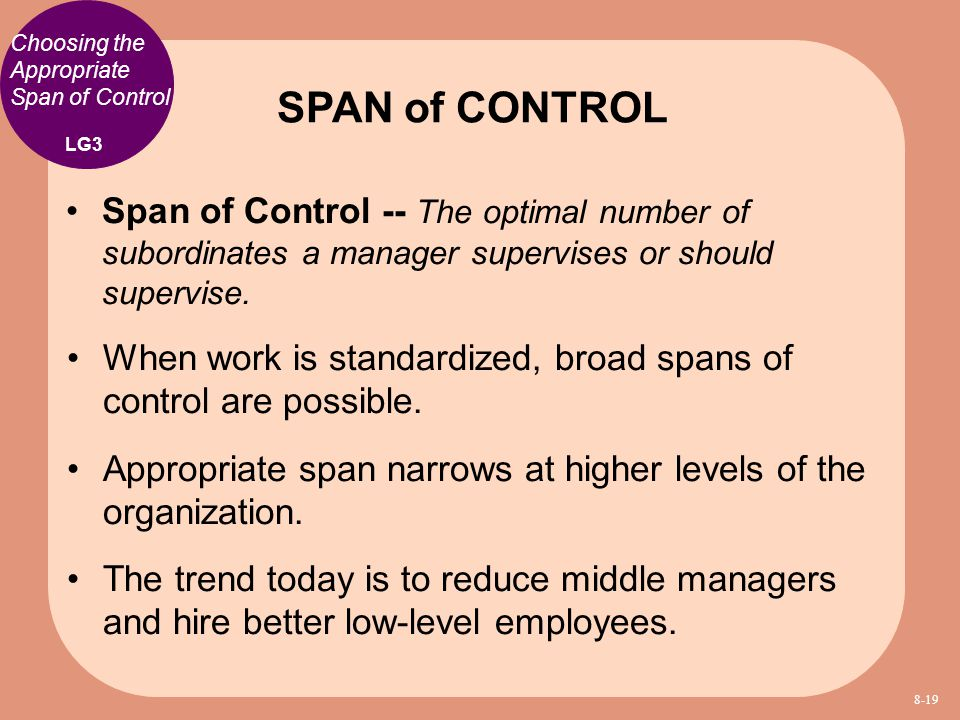 Choosing the Appropriate Span of Control Span of Control -- The optimal number of subordinates a manager supervises or should supervise. When work is