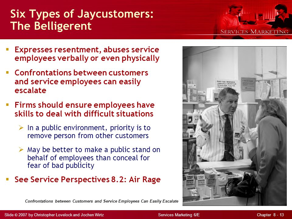 Slide © 2007 by Christopher Lovelock and Jochen Wirtz Services Marketing 6/E Chapter 8 - 13  Expresses resentment, abuses service employees verbally