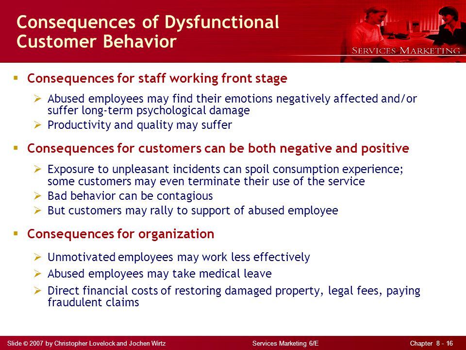 Slide © 2007 by Christopher Lovelock and Jochen Wirtz Services Marketing 6/E Chapter 8 - 16 Consequences of Dysfunctional Customer Behavior  Conseque