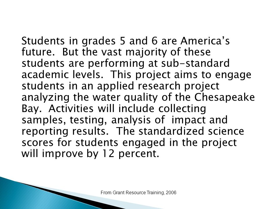 Students in grades 5 and 6 are America's future.