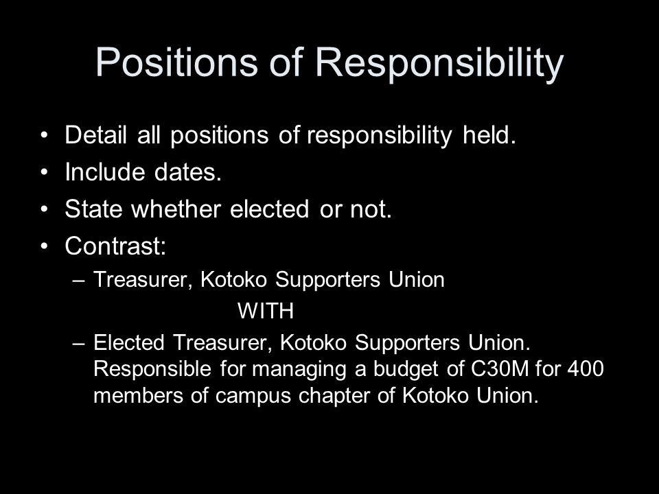 Positions of Responsibility Detail all positions of responsibility held.