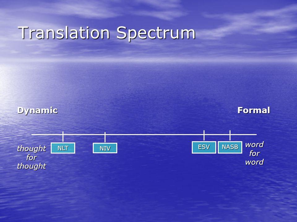 Translation Spectrum thoughtforthought DynamicFormal wordforword NASB ESV NIV NLT