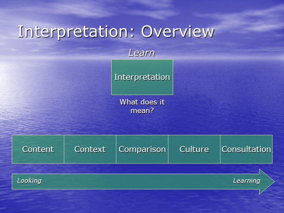 Interpretation: Overview Interpretation Learn What does it mean.