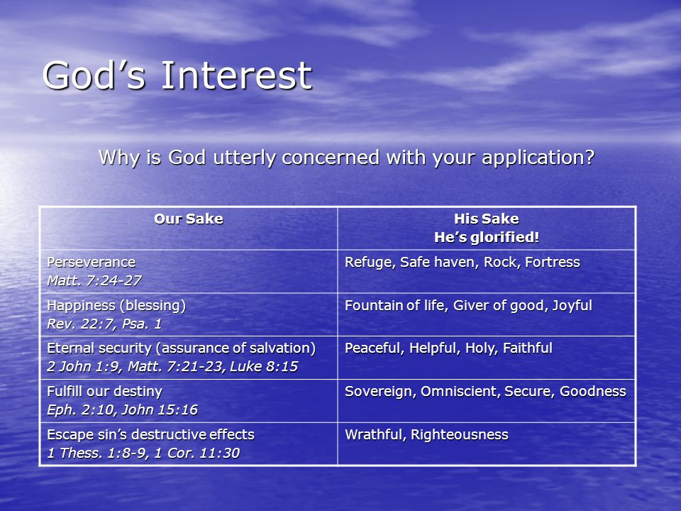 God's Interest Why is God utterly concerned with your application.