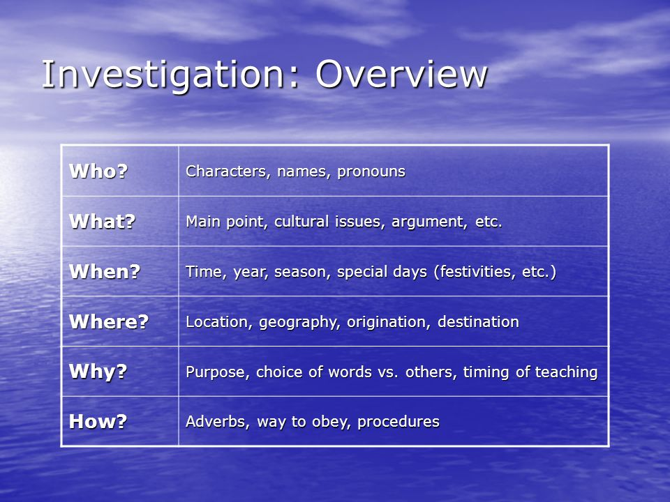 Investigation: Overview Who? Characters, names, pronouns What? Main point, cultural issues, argument, etc. When? Time, year, season, special days (fes