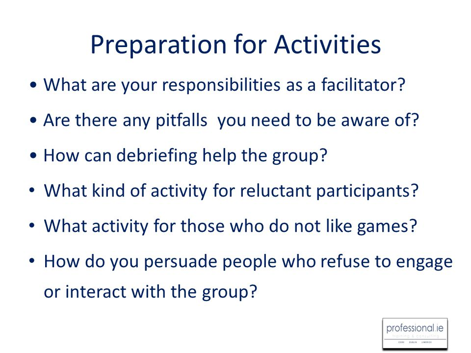 Preparation for a Game or Activity Name Time Required Size of Group Materials Required Overview Goals Procedure Discussion Points Variations