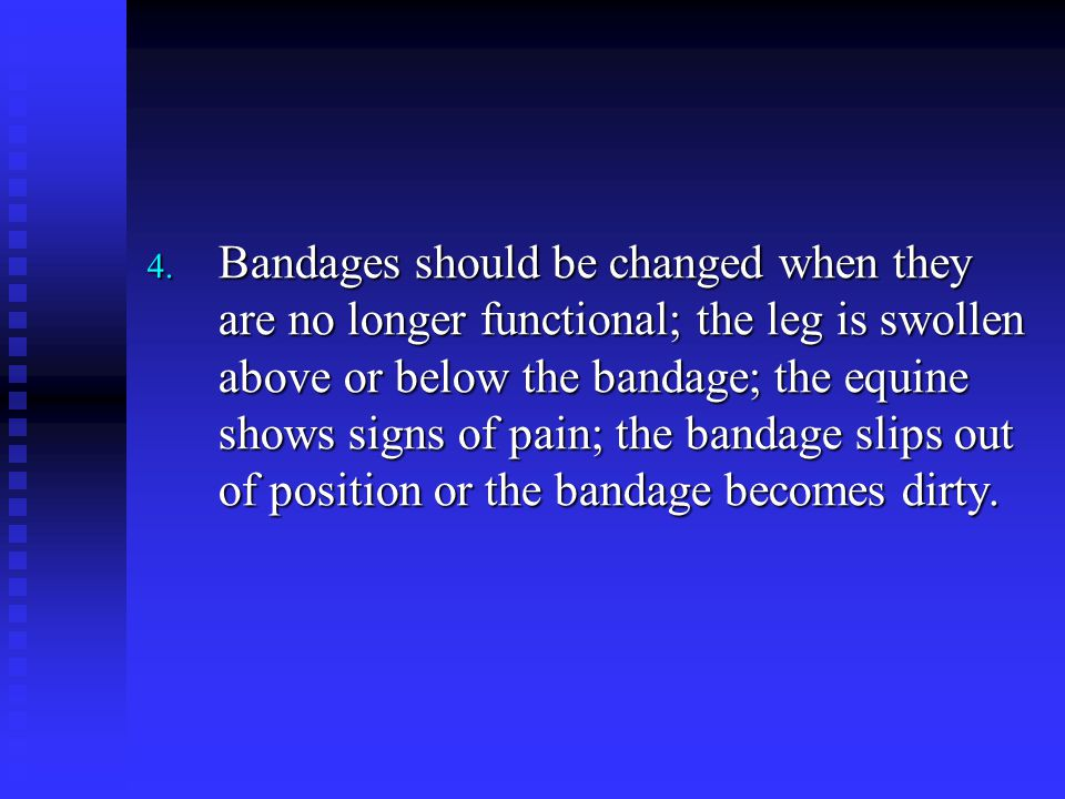 4. Bandages should be changed when they are no longer functional; the leg is swollen above or below the bandage; the equine shows signs of pain; the b