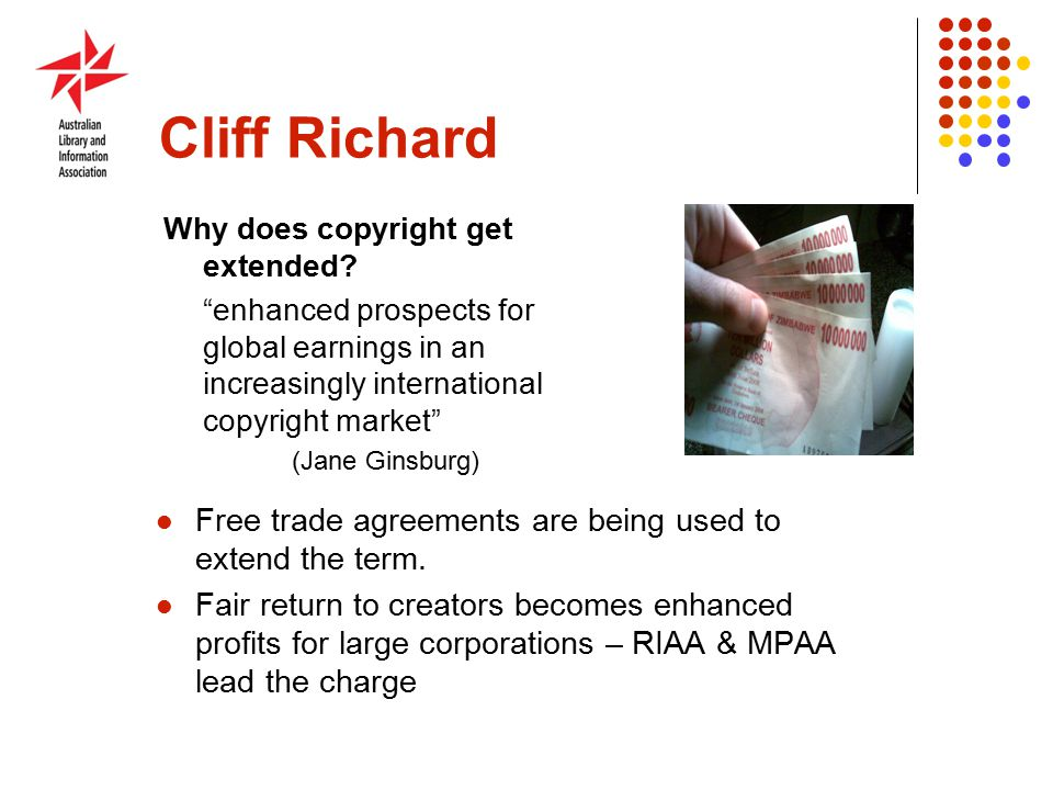 Cliff Richard Why does copyright get extended.