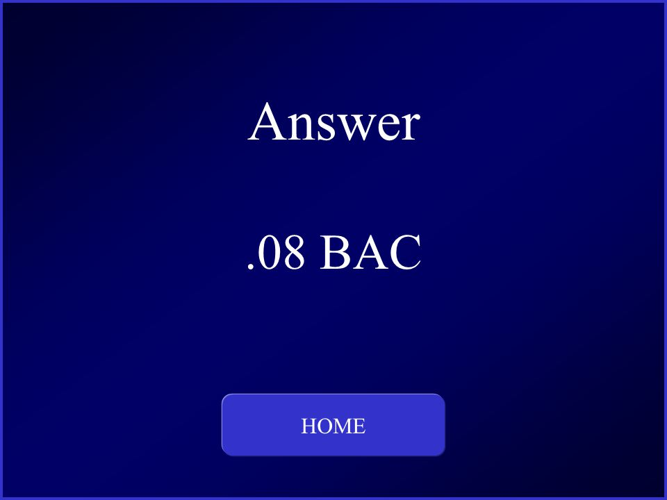 Answer.08 BAC HOME This is the question and answer for Category Three, for 100 dollars.