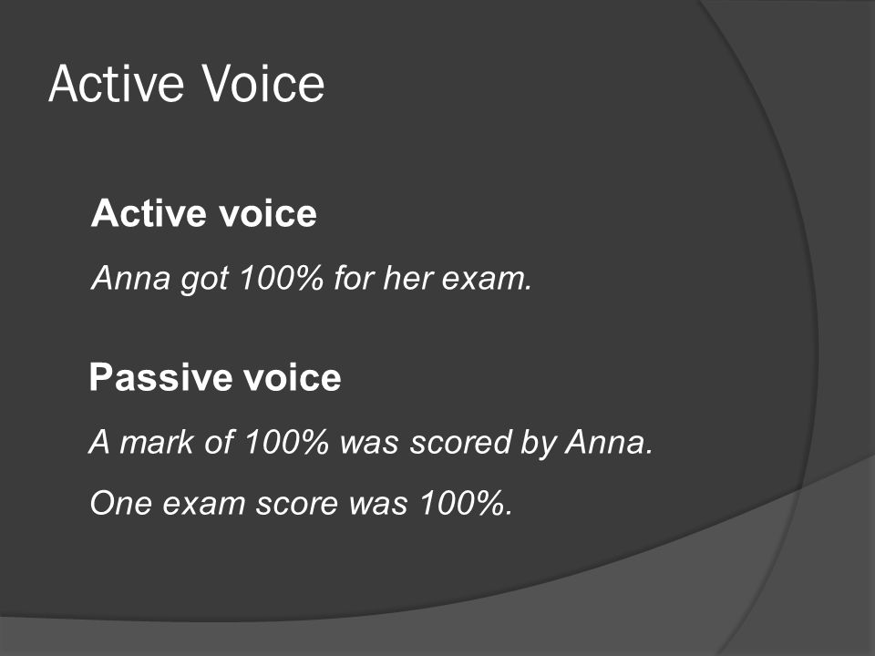 Active Voice Active voice Check the data for errors and press enter Passive voice After the data is typed, it should be checked for errors, then the enter key should be hit