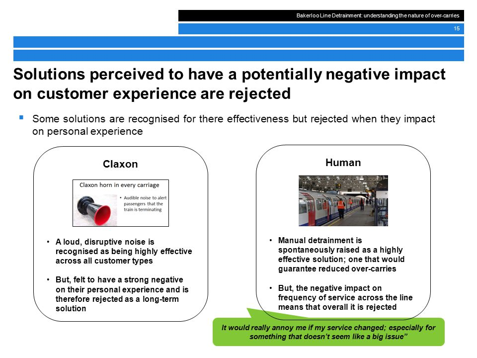 Bakerloo Line Detrainment: understanding the nature of over-carries 15 Solutions perceived to have a potentially negative impact on customer experience are rejected  Some solutions are recognised for there effectiveness but rejected when they impact on personal experience It would really annoy me if my service changed; especially for something that doesn't seem like a big issue Claxon A loud, disruptive noise is recognised as being highly effective across all customer types But, felt to have a strong negative on their personal experience and is therefore rejected as a long-term solution Human Manual detrainment is spontaneously raised as a highly effective solution; one that would guarantee reduced over-carries But, the negative impact on frequency of service across the line means that overall it is rejected