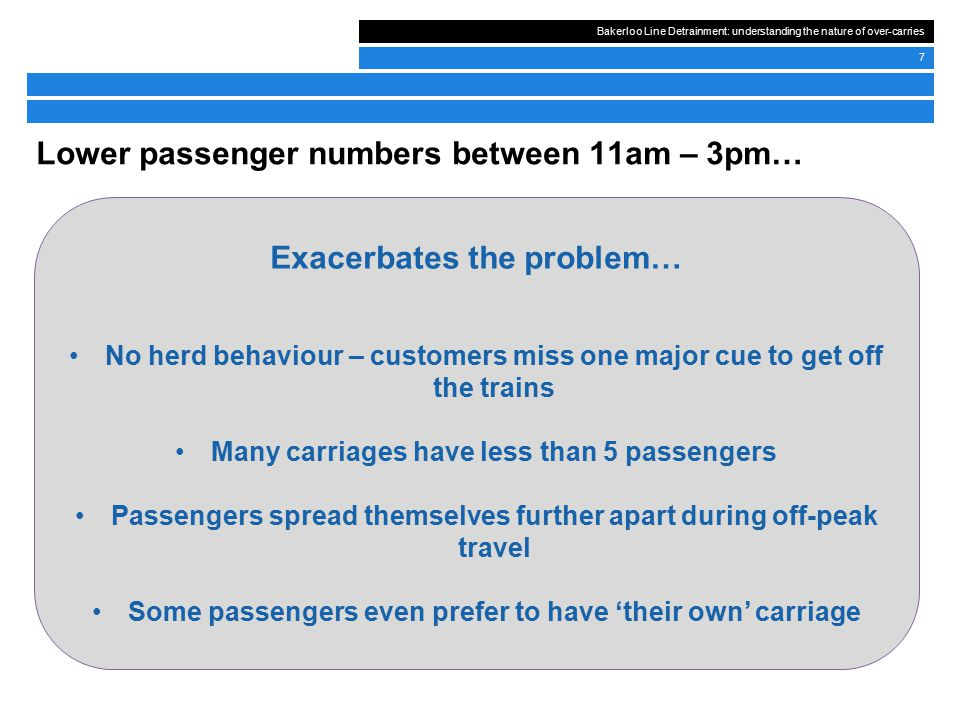 Bakerloo Line Detrainment: understanding the nature of over-carries 7 Lower passenger numbers between 11am – 3pm… Exacerbates the problem… No herd behaviour – customers miss one major cue to get off the trains Many carriages have less than 5 passengers Passengers spread themselves further apart during off-peak travel Some passengers even prefer to have 'their own' carriage