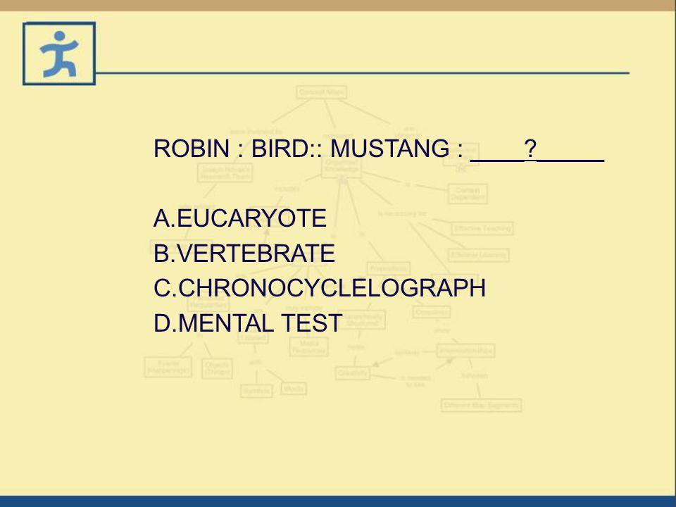 A.EUCARYOTE B.VERTEBRATE C.CHRONOCYCLELOGRAPH D.MENTAL TEST