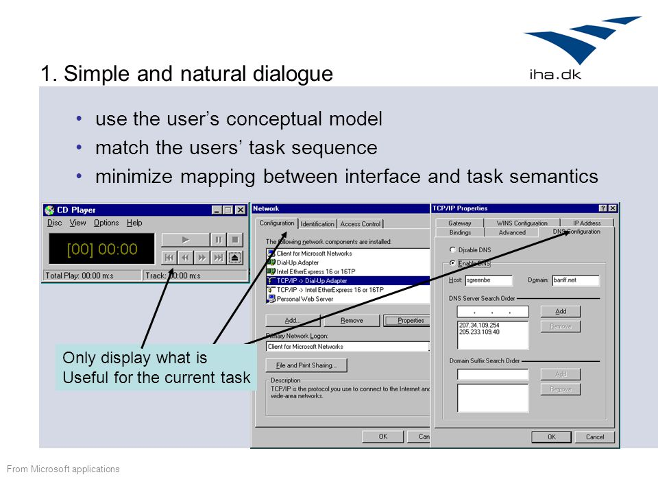 1. Simple and natural dialogue use the user's conceptual model match the users' task sequence minimize mapping between interface and task semantics Fr
