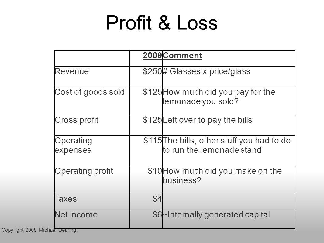 Profit & Loss Copyright 2008 Michael Dearing.