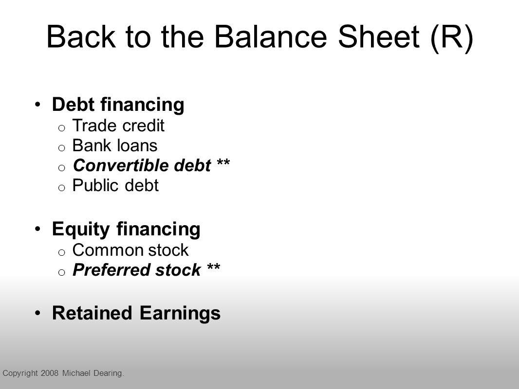 Back to the Balance Sheet (R) Debt financing o Trade credit o Bank loans o Convertible debt ** o Public debt Equity financing o Common stock o Preferred stock ** Retained Earnings Copyright 2008 Michael Dearing.