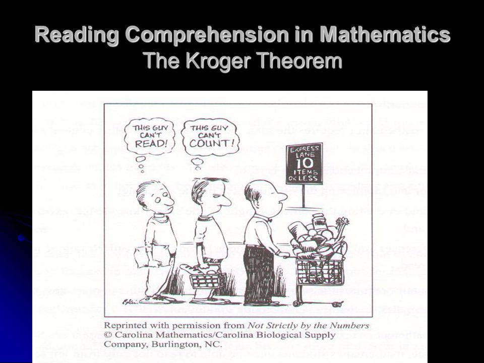 Reading Comprehension in Mathematics The Kroger Theorem