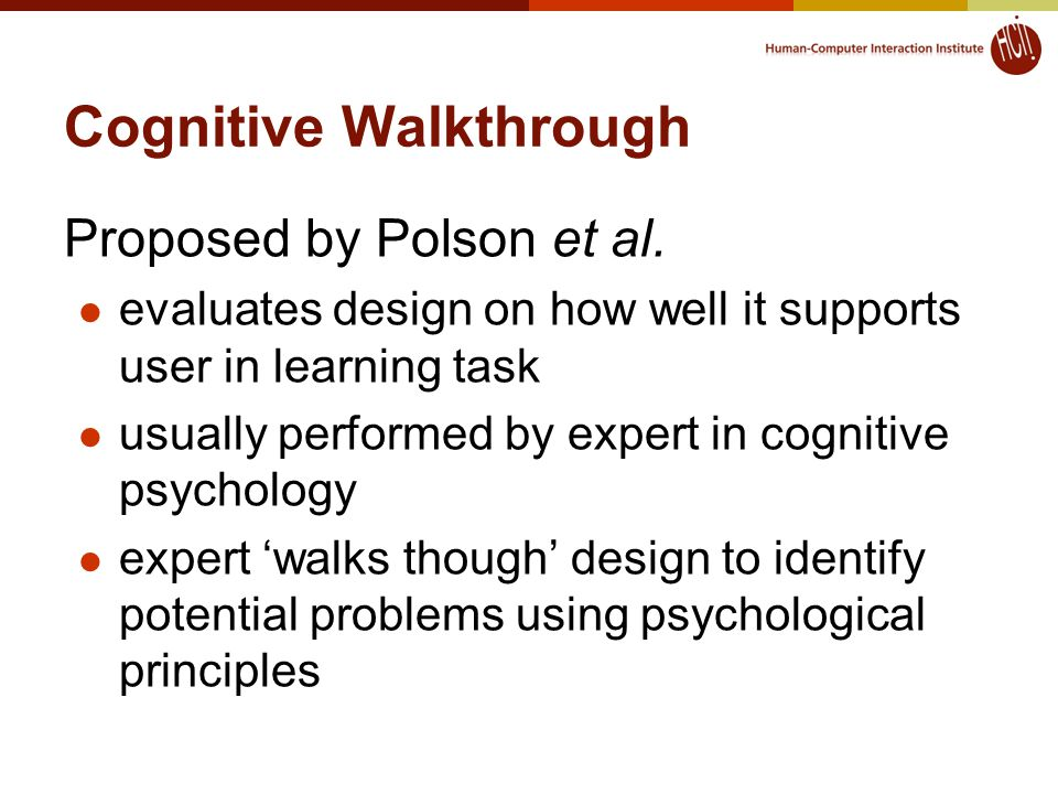Cognitive Walkthrough Proposed by Polson et al.