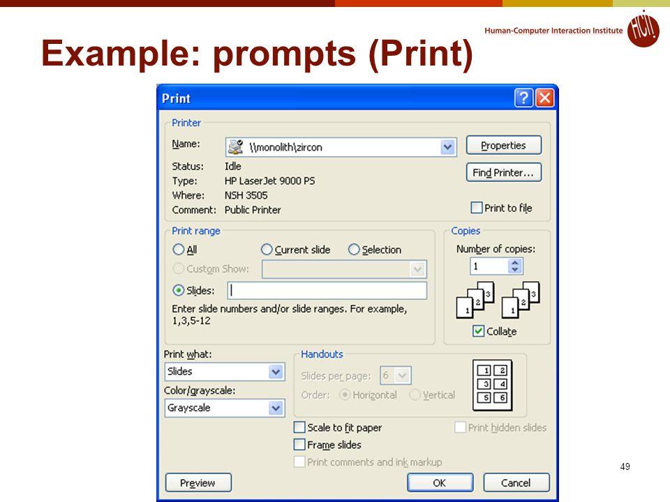 49 Example: prompts (Print)