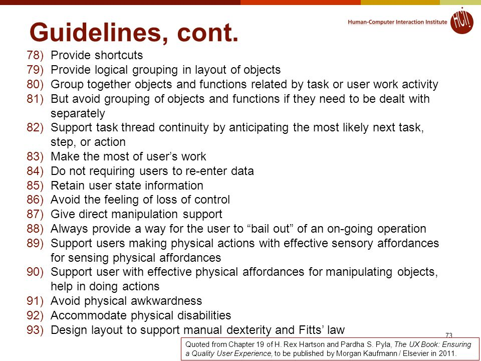 Guidelines, cont.