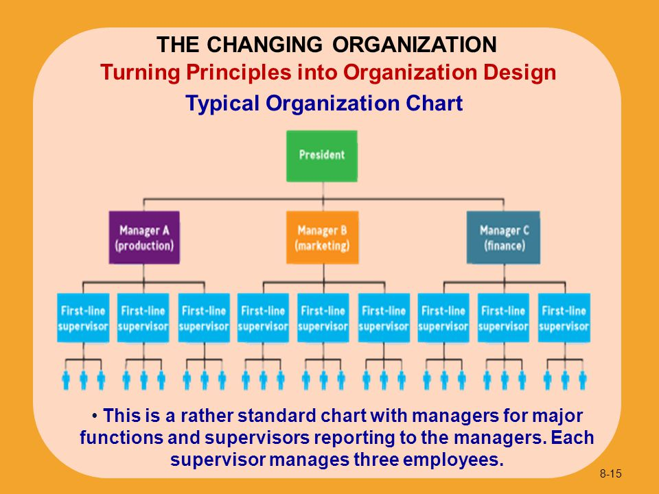 Typical Organization Chart 8-15 Turning Principles into Organization Design THE CHANGING ORGANIZATION This is a rather standard chart with managers fo