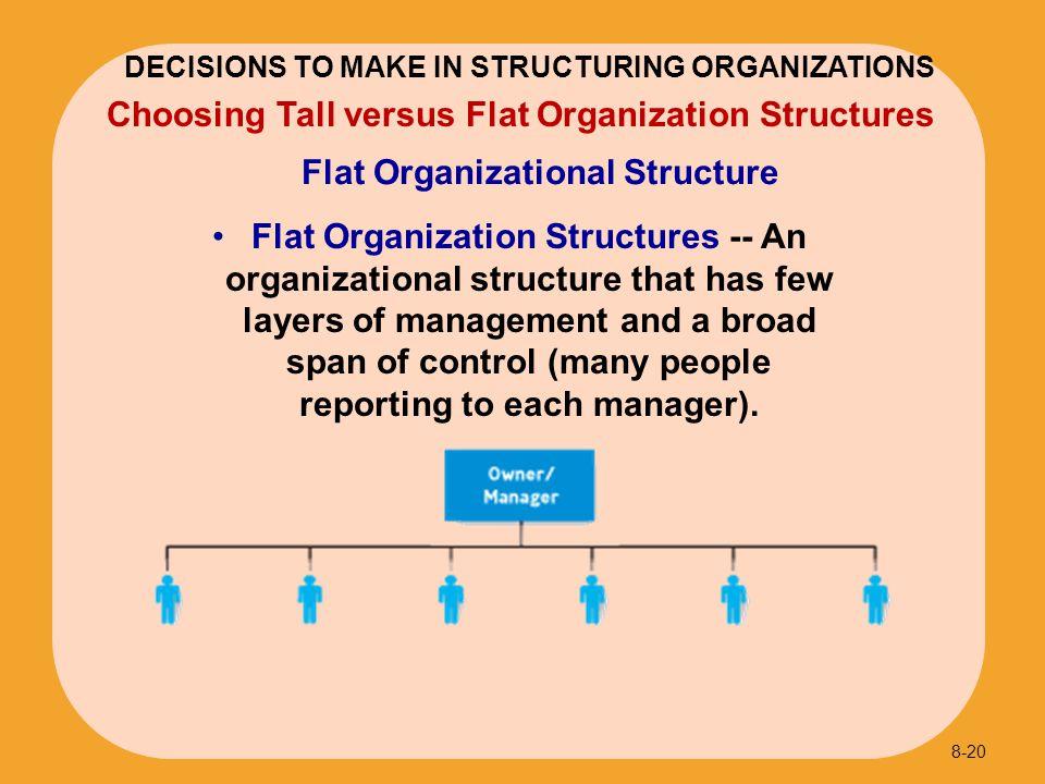 Flat Organizational Structure 8-20 Choosing Tall versus Flat Organization Structures DECISIONS TO MAKE IN STRUCTURING ORGANIZATIONS Flat Organization