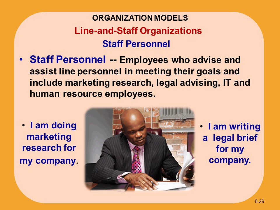 Staff Personnel -- Employees who advise and assist line personnel in meeting their goals and include marketing research, legal advising, IT and human