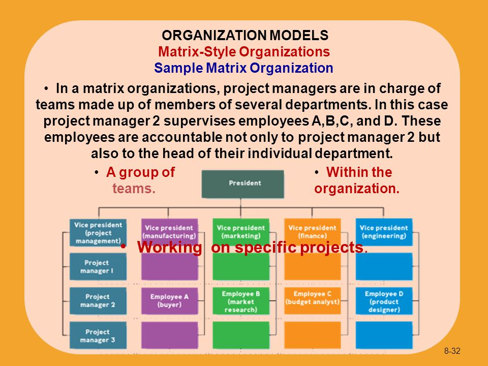 Sample Matrix Organization 8-32 ORGANIZATION MODELS Matrix-Style Organizations In a matrix organizations, project managers are in charge of teams made