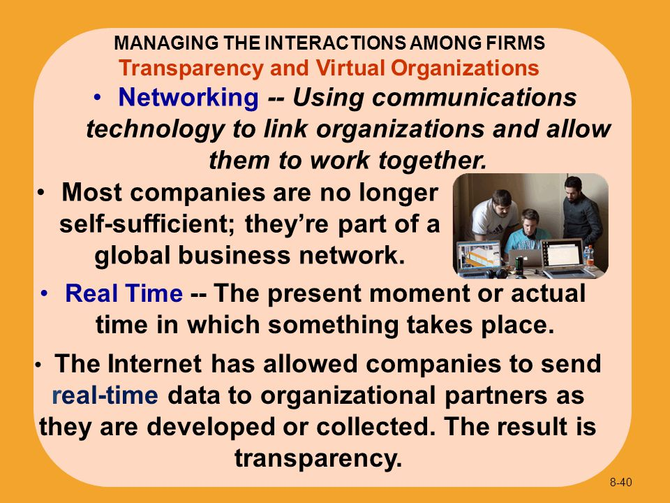 Transparency and Virtual Organizations Real Time -- The present moment or actual time in which something takes place. 8-40 MANAGING THE INTERACTIONS A