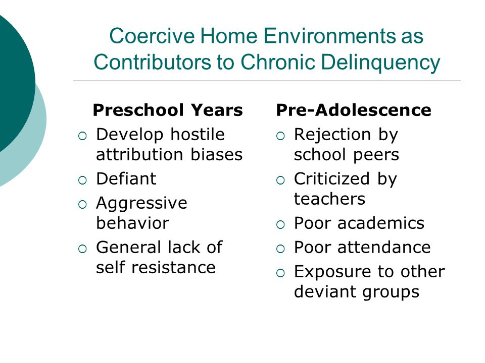 Coercive Home Environments as Contributors to Chronic Delinquency Preschool Years  Develop hostile attribution biases  Defiant  Aggressive behavior