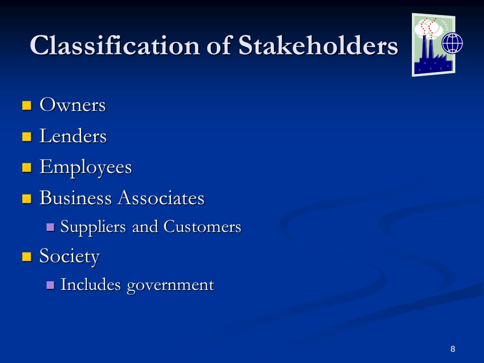 8 Classification of Stakeholders Owners Owners Lenders Lenders Employees Employees Business Associates Business Associates Suppliers and Customers Suppliers and Customers Society Society Includes government Includes government