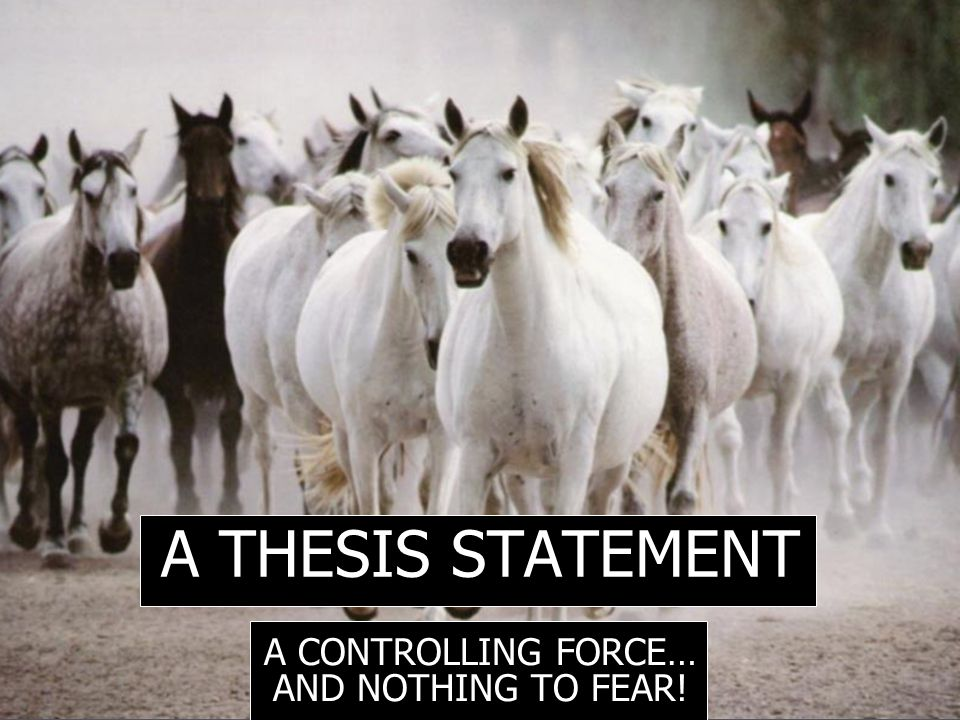 A THESIS STATEMENT A CONTROLLING FORCE… AND NOTHING TO FEAR!