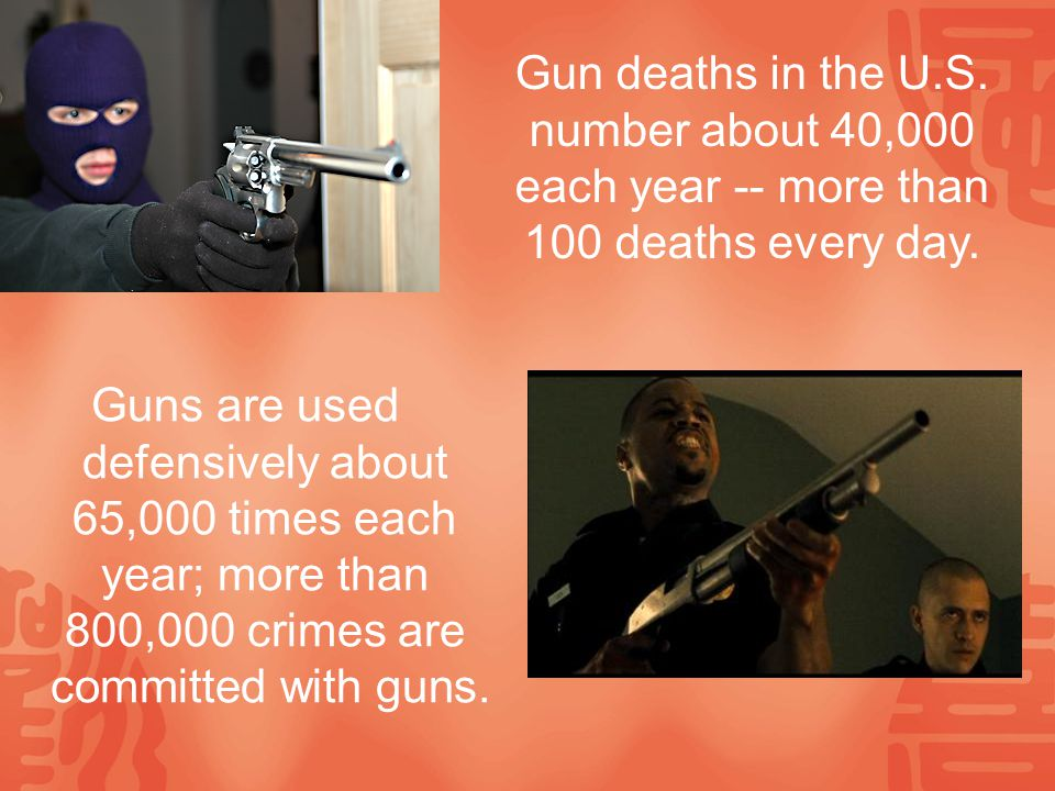 Guns are used defensively about 65,000 times each year; more than 800,000 crimes are committed with guns.